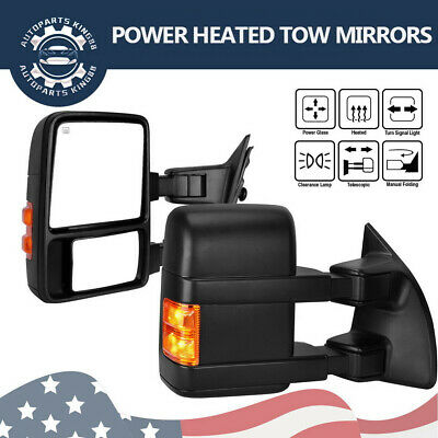 $141.50 • Buy Pair For 99-07 Ford F250 F350 Super Duty Tow Mirrors Power Heated Amber Signals