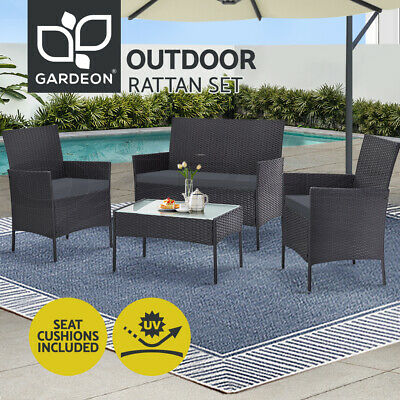 AU349.90 • Buy Gardeon Garden Furniture Outdoor Lounge Setting Wicker Sofa Set Patio 4 Piece