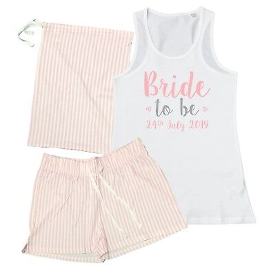 £23.31 • Buy Personalised Bride To Be Pyjamas Vest Shorts Gift Bag Wedding Party Hen Do Pink