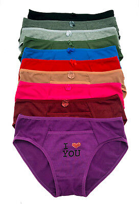 $11.50 • Buy Lot 6 Or 12 Beaded Heart I Love You Inside Pocket COTTON Bikini Panty S/M/L/XL