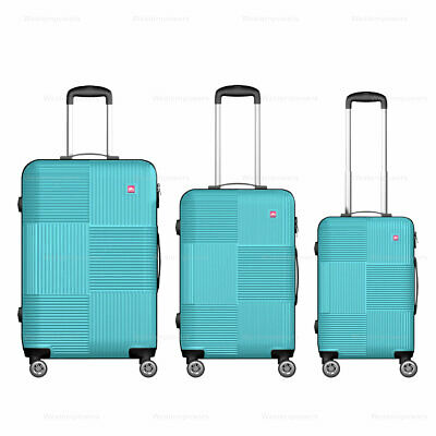 View Details 3 Piece Hardside Luggage Wheels Spinner Suitcase Code Lock 20'' 24'' 28'' Teal • 85.00$
