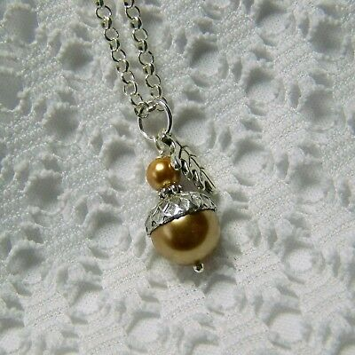 Acorn Copper Pearl Necklace, Autumn Harvest Pendant, Swarovski Pearl Pendant • 22.50$