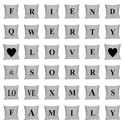 Single Letter Printed Natural Cushion Cover Pillow Case - Alphabet A-Z Initials • 10.49£