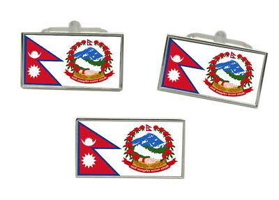 Nepal Flag Cufflink And Tie Pin Set • 22.99£