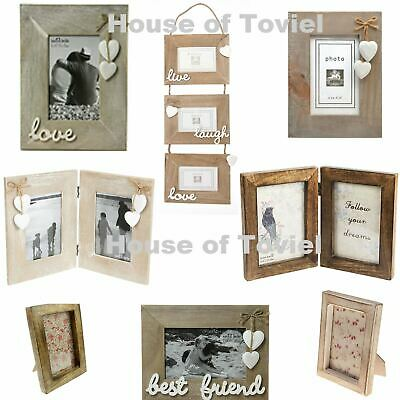 Wooden Wood Photo Frame Single Double With Friend Live Laugh Love Selection 6x4 • 6.94£