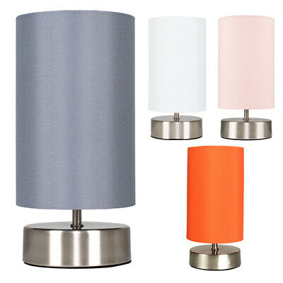 £18.99 • Buy Metal Bedside Table Lamp Touch Dimmer Chrome Base Fabric Light Shade LED Bulb