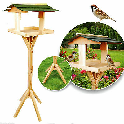£15.99 • Buy Traditional Bird House Table Free Standing Wooden Feeding Station Green Roof