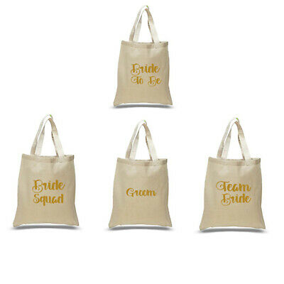 £2.99 • Buy Printed In Gold Wedding Party Bridal Tote Bags Bridesmaid Favour Hen Party Bag