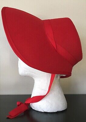 £3.89 • Buy Red Felt Bonnet Hat Adult Costume Accessory NEW Dickens Victorian