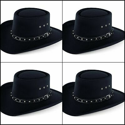 340af41e71a03 New Amazing Black Hat Western Faux Felt Gambler Cowboy Hat L XL (Elastic  Band