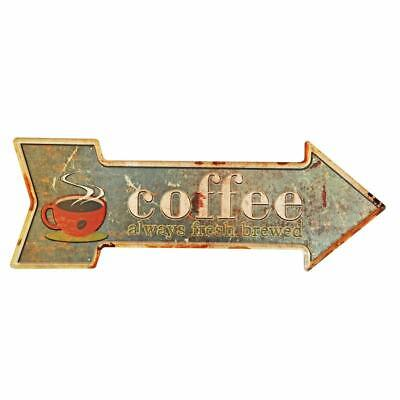 Coffee Metal Tin Sign Rustic Retro Arrow  • 19.95$