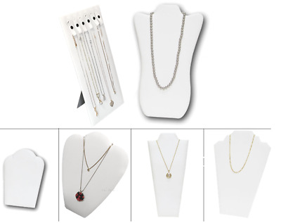£4.77 • Buy Jewelry Easel Stand Chain Display White Faux Leather Display Necklace Stand Lots