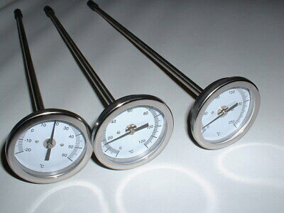 £14.99 • Buy 300mm Stainless Steel Probe Dial Thermometer 60c 120c Or 250c Max Temperature