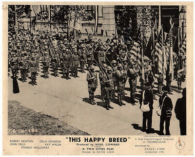 This Happy Breed Original 8x10 Lobby Card 1944 Soldiers On Parade With Flags • 31.61£