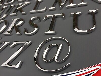 3D Chrome Letters Self Adhesive. Art, Door, Walls Signs. Height 5cm A-Z & @ • 1.89£