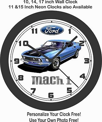 $43.99 • Buy 1969 FORD MUSTANG MACH 1- 10, 14 Or 17 INCH WALL CLOCK-FREE USA SHIP