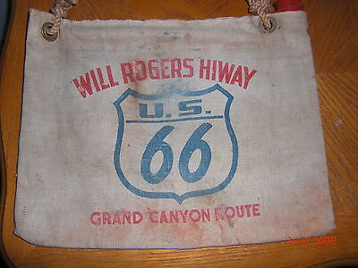 $300 • Buy VTG Canvas Water Bag WILL ROGERS HIWAY ROUTE 66 HOT RAT ROD Chevrolet Dodge Ford