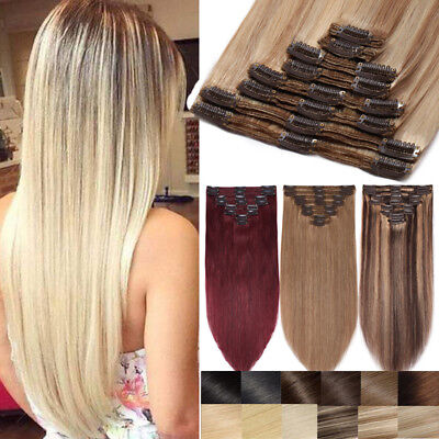Russian Clip In Real Remy Human Hair Extensions Ombre Thick Double Weft 8PCS FM8 • 59.97£