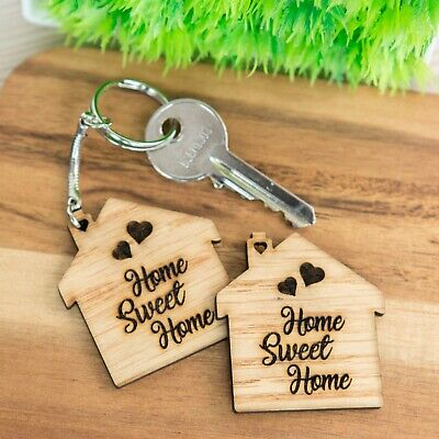 Wooden Oak Keyring Gift HOME SWEET HOME First Home New House Warming Wood Gifts • 2.99£