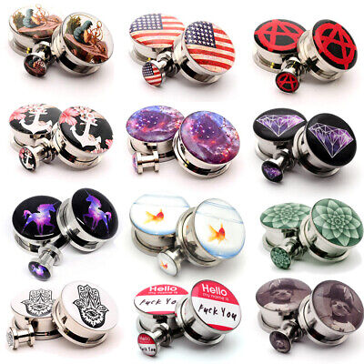 $12.29 • Buy Pair Of Screw On Picture Plugs Gauges Choose Style And Size 16g Thru 1 Inch