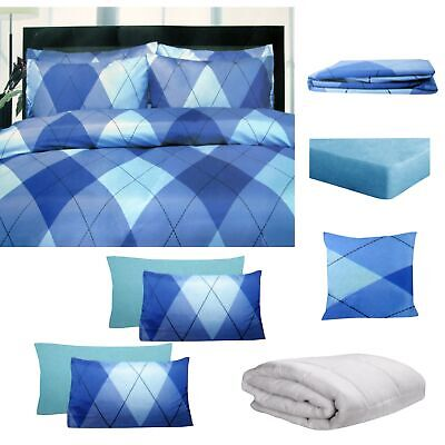 8 Pce Bed In A Bag Bed Pack Set Argyles Blue By Big Sleep - ALL SIZES • 52.26£