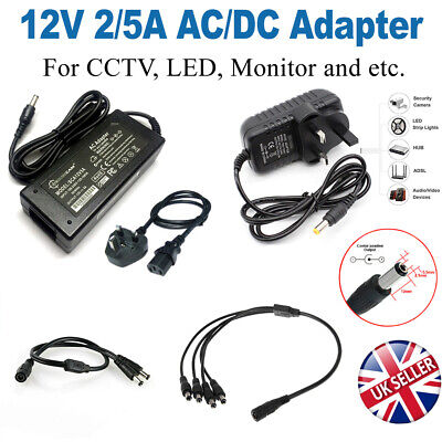 £3.98 • Buy 12V 2/5A AC/DC Adapter Power Supply For CCTV Camera LED Strip Computer Monitor