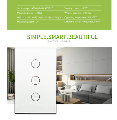 AU26.59 • Buy WIFI Smart Dimmer Light Switch Wall Touch Panel For Alexa Google Home