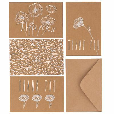 $9.99 • Buy Kraft Thank You Cards With Envelopes Bulk Pack Of 36 Greeting Cards Notes