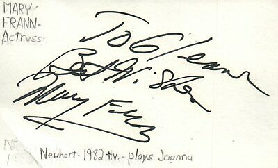 $ CDN23.48 • Buy Mary Frann Actress Joanna In Newhart TV Show Autographed Signed Index Card