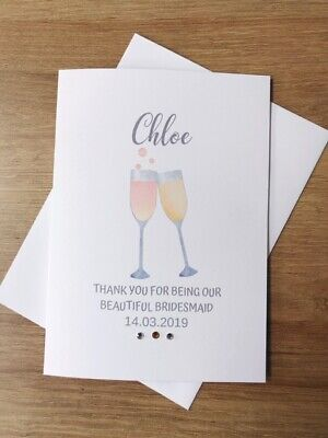 £1.49 • Buy Personalised Champagne Glass Wedding Thank You Card - Bridesmaid - Any Role