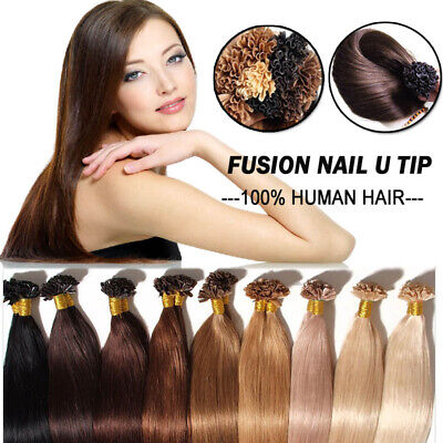U Nail Tip Pre Bonded Keratin Real Remy Human Hair Extensions Thick US Stock LC1 • 26.92$
