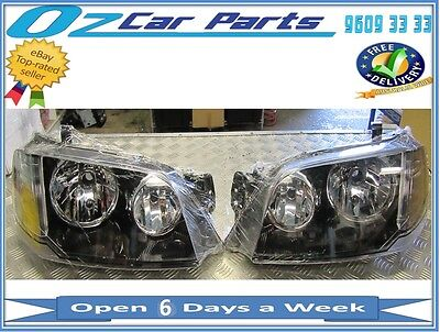 AU299 • Buy For Ford Territory Sx Sy Headlight / Head Lamp 2004-2009 Black Pair New