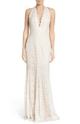 02a35cebfc02 TADASHI SHOJI Bridal Eggshell Ivory White Lace Lunet Halter Column Gown  Dress 8 • 269.99