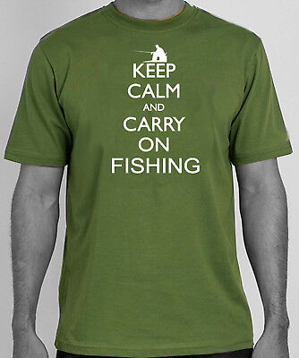 Keep Calm And Carry On Fishing   Angling T-shirt • 11.99£