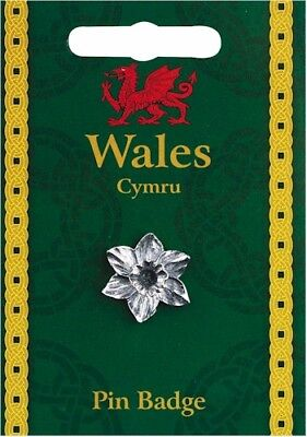 £5.99 • Buy Welsh SilvervPewter Daffodil Lapel Pin Badge