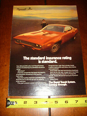1971 Plymouth Road Runner - Original Ad • 7.85£