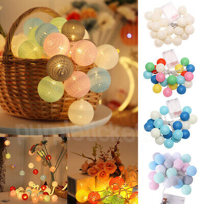 LED Globe Garland Cotton Ball String Fairy Lights Home Wedding Room Party Decor • 6.45£