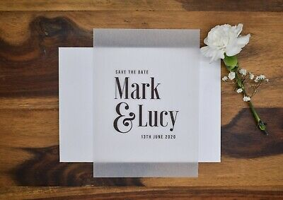 £3.50 • Buy Save The Date - Contemporary Design On Vellum Paper