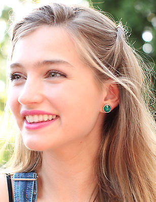 $ CDN33.17 • Buy Kate Spade NY EMERALD TEAL GREEN Bezel Faceted Gold Stud Crystal Earrings Circle