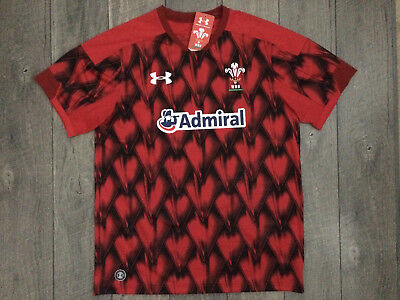 6612aeff9ab UNDER ARMOUR Wales WRU Welsh Rugby Union Jersey Mens Small Red Black NWT  $88.00 • 29.95