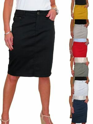 £18.99 • Buy ICE Stretch Chino Jeans Style Below Knee Pencil Skirt 10-20