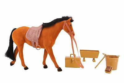 20cm Brown Flocked Horse With Accessories -Horse Toys- ES89-BROWN-TL • 9.99£