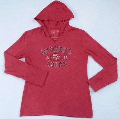 61d2599cb NFL San Francisco 49ers Women s Lightweight Red Hoodie Sweater By 47 Brand  - L • 12.75