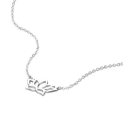 $ CDN20.33 • Buy 925 Sterling Silver Minimalist Dainty Lotus Flower Pendant Necklace Nickel Free
