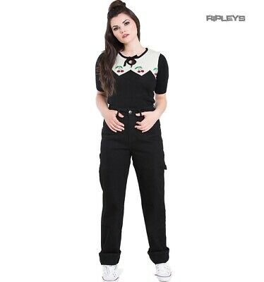 Hell Bunny 40s 50s BLACK Denim CARPENTER Rockabilly Jeans Trousers All Sizes • 29.95£