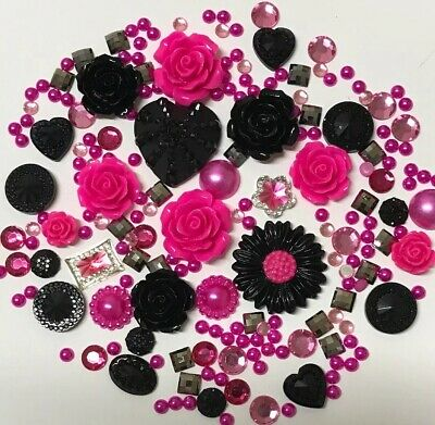 20g HOT PINK+BLACK Pearls/Roses/Gems Flatback Kawaii Cabochons Decoden Craft • 2.79£
