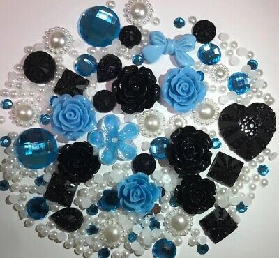 20g BLUE/BLACK/WHITE Pearls/Roses/Gems Flatback Kawaii Cabochons Decoden Craft • 2.79£