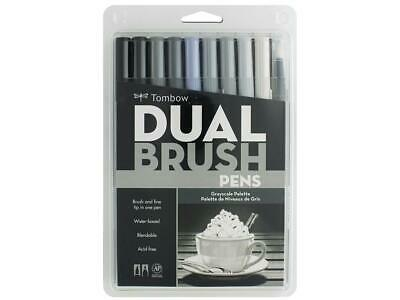 Tombow Brush Pen 10 Colour Grey Scale Double Ended Artist & Craft Marker Pens • 27.50£