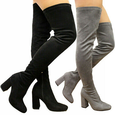 Ladies Party Stretched Thigh High Over The Knee Boots High Block Heel Shoes Size • 17.95£