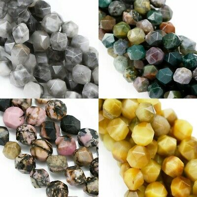 £7.69 • Buy 8 Mm Faceted Nugget Star Cut Semi-precious Gemstone Beads For Jewellery Making
